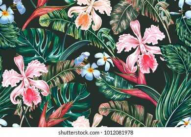 Tropical floral seamless vector pattern background with exotic flowers, palm leaves, jungle leaf,