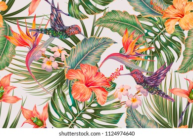 Tropical floral seamless vector pattern background with exotic flowers, hummingbirds, palm leaves, jungle leaf, orchid, strelitzia, bird of paradise flower. Vintage botanical wallpaper illustration