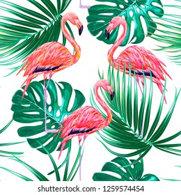 Tropical floral seamless vector pattern background with palm leaves, jungle leaf, monstera, pink flamingos, exotic birds. Botanical illustration wallpaper
