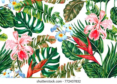 Tropical floral seamless vector pattern background with exotic flowers, palm leaves, jungle leaf, hibiscus, orchid, bird of paradise flower. Botanical wallpaper illustration in Hawaiian style