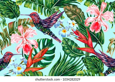Tropical floral summer seamless vector pattern background with exotic flowers, hummingbirds, palm leaves, jungle leaf, hibiscus, orchid, bird of paradise flower. Botanical wallpaper illustration