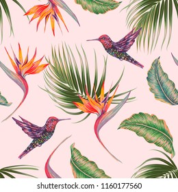 Tropical floral vector seamless pattern background with exotic flowers, palm leaves, jungle leaf, strelitzia, hummingbirds. Vintage botanical illustration wallpaper
