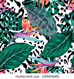 Tropical floral vector seamless pattern background with exotic flowers, jungle leaves, monstera leaf, bird of paradise flower. Abstract animal texture. Spring Summer design for fashion prints, textile