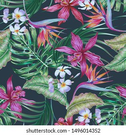 Tropical floral vector seamless pattern background with exotic flowers, palm leaves, jungle leaf, orchid, bird of paradise flower. Vintage hawaiian illustration wallpaper