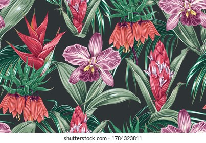 Tropical floral vector seamless pattern background with exotic flowers, orchid, bird of paradise flower, jungle leaves. Vintage decorative botanical illustration wallpaper.