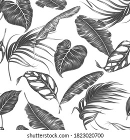 Tropical floral vector seamless pattern background with monochrome exotic palm leaves, jungle leaf. Design for fashion prints, textile.