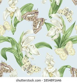 Tropical floral vector seamless pattern background with exotic flowers, orchid flower, butterflies, jungle leaves. Vintage botanical illustration wallpaper.