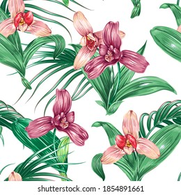 Tropical floral vector seamless pattern background with exotic flowers, orchid flower, jungle leaves. Artistic backdrop. Botanical illustration wallpaper.
