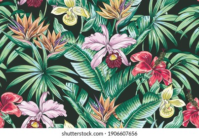 Tropical floral vector seamless pattern with exotic flowers, orchid, hibiscus, bird of paradise flower, jungle leaves. Hand drawn repeatable background. Vintage botanical illustration wallpaper.