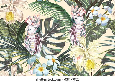 Tropical floral vector seamless pattern background with parrots, cockatoo birds, exotic flowers, palm leaves, jungle leaf, monstera, orchid flower. Vintage botanical wallpaper