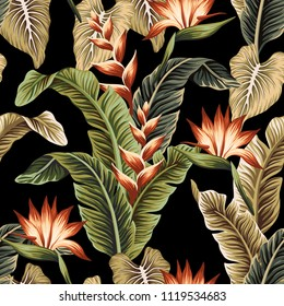 Tropical floral vintage strelitzia flower banana leaves seamless pattern black background. Exotic Hawaiian wallpaper.