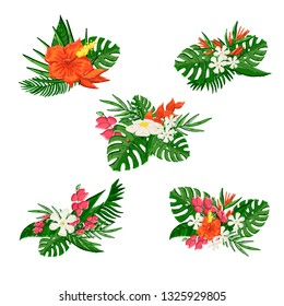Tropical flovers bouquet isolated on a white background with exotic leaf and flaver hibiscus.