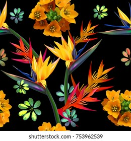 tropical flovers,seamless pattern,yellow-red flowers on a black background