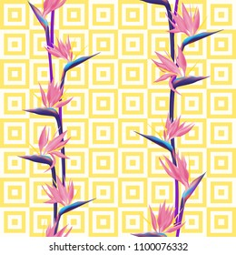 Tropical flower bird of paradise vector seamless pattern. Creative african crane flower or strelitzia reginae blossom floral textile pattern. Jungle paradise tropical plant background summer design.