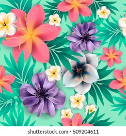 Tropical flower, blossom cluster seamless pattern . Beautiful background with tropical flowers and palm leaves, plant and leaf.