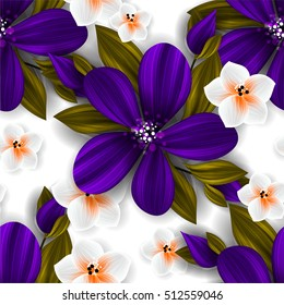 Tropical flower, blossom cluster seamless pattern . Beautiful background with tropical flowers and palm leaves, plant and leaf