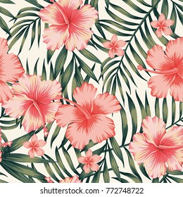 Tropical flower pink hibiscus palm leaves dark green. Exotic vector beach wallpaper seamless pattern