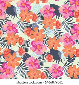 Tropical flower, plant and leaf pattern background
