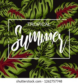 tropical flower for summer poster illustration