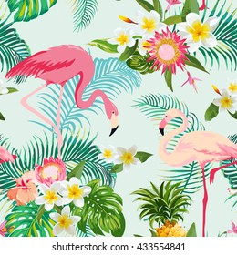 Tropical Flowers and Birds Background. Vintage Seamless Pattern. Vector. Flamingo