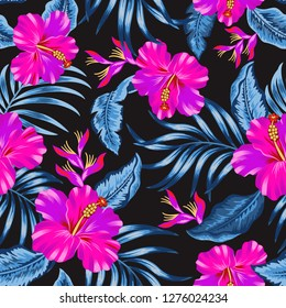 Tropical Flowers Editable seamless vector pattern hibiscus and leaves on black  background