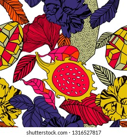 Tropical flowers and fruits, bright exotic print