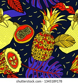 Tropical flowers and fruits, bright exotic pattern.