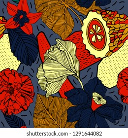 Tropical flowers and fruits, summer pattern design.