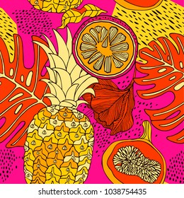 Tropical flowers and fruits. Vector illustrations.