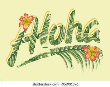 Tropical Flowers graphic. Typographical T-shirt Fashion print