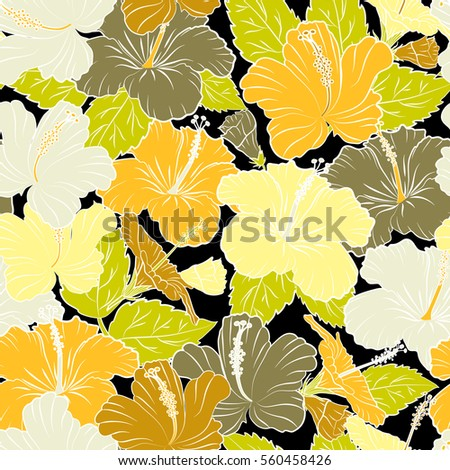 Tropical Flowers Hibiscus Leaves Hibiscus Buds Stock Vector Royalty