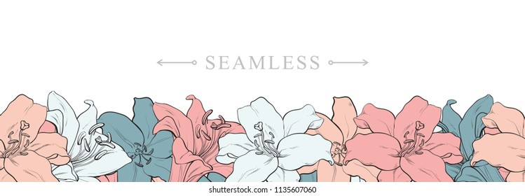 Tropical flowers hibiscus seamless pattern border frame with space for text. Hand drawn sketch blossoms decoration for fabric, textile or graphic design. Summer vector background.