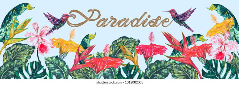 Tropical flowers, hummingbirds, palm leaves, jungle leaf, hibiscus, orchid, bird of paradise flower. Vector exotic rainforest background. Botanical illustration for greeting card, wallpaper, wedding