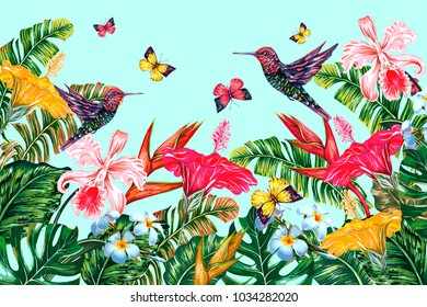 Tropical flowers, hummingbirds, palm leaves, jungle leaf, hibiscus, orchid, bird of paradise flower, butterflies flying. Vector exotic summer background. Botanical colorful illustration wallpaper