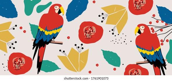 Tropische Blumen und Laubhintergrund mit Papageien. Farbiges Sommer Vektorgrafik-Design. Exotische tropische Kunstdrucke für Reisen und Urlaub, Stoff und Mode