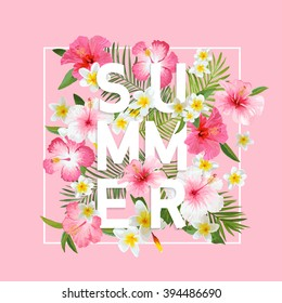 Tropical Flowers and Leaves Background. Summer Design. Vector. T-shirt Fashion Graphic. Exotic.