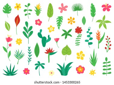 Tropical flowers and leaves collection. Exotic elements for summer beach party. Floral design isolated on white background. Hawaiian bouquet for card, wedding, wallpaper, flyer. Vector illustration.