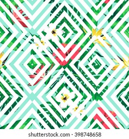 Tropical flowers and leaves on geometric background. Seamless. Vector.