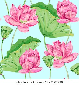 Tropical flowers, leaves, pink lotus, water lily, vector seamless floral pattern background. Decorative botanical illustration