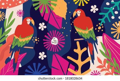 Tropische Blumen und Blätter Poster Hintergrund mit Papageien. Farbiges Sommer Vektorgrafik-Design. Exotische tropische Kunstdrucke für Reisen und Urlaub, Stoff und Mode