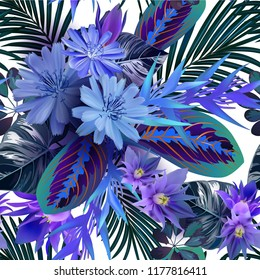 tropical flowers and leaves seamless pattern photorealistic vector on the white backgraund