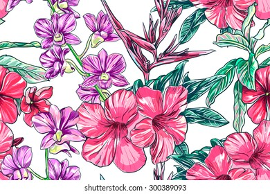 Tropical flowers, orchid, hibiscus, bird of paradise flower. Beautiful seamless vector floral jungle pattern background, exotic print