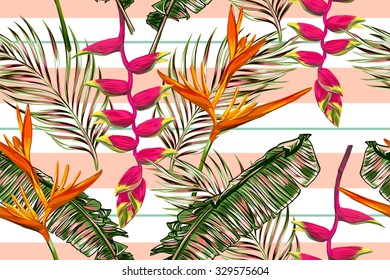 Tropical flowers, palm leaves, bird of paradise flower, strips. Beautiful seamless vector floral jungle pattern background, exotic print. Abstract geometric texture