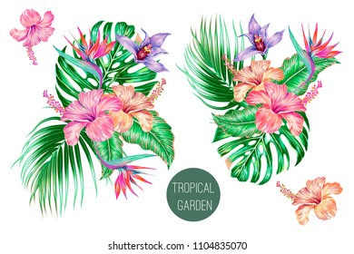 Tropical flowers, palm leaves, jungle leaf, bird of paradise flower, hibiscus, orchid, strelitzia compositions. Vector exotic illustration, floral elements isolated, Hawaiian bouquet for wallpaper
