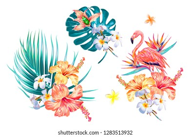 Tropical flowers, palm leaves, jungle leaf, bird of paradise flower, hibiscus, orchid, pink flamingo. Vector exotic illustrations, floral elements isolated, Hawaiian bouquet for greeting card, wedding