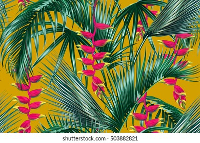 Tropical flowers, palm leaves, jungle leaf, bird of paradise flower. Seamless vector floral pattern, succulent background, amazing garden