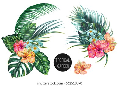 Tropical flowers, palm leaves, jungle leaf, bird of paradise flower, hibiscus, plumeria. Vector exotic illustrations, floral elements isolated, Hawaiian bouquet for greeting card, wedding, wallpaper
