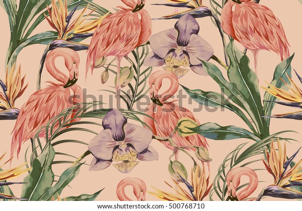 Tropical flowers, palm leaves, jungle plants, orchid, bird of paradise flower, pink flamingos, seamless vector floral pattern background, exotic botanical wallpaper, vintage boho style