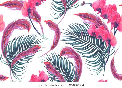 Tropical flowers, palm leaves, orchid flower, feathers seamless vector floral pattern background, boho style