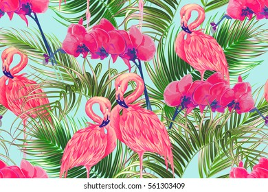 Tropical flowers, palm leaves, orchid flower, pink flamingos seamless vector floral pattern background